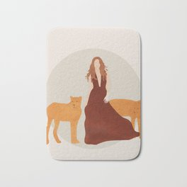Woman with Cheetahs Bath Mat