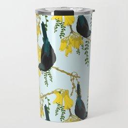 Tuis in the Kowhai Flowers Travel Mug