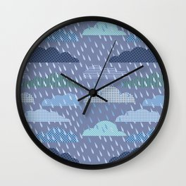 pattern with clouds. Vector pattern Wall Clock