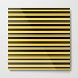 Even Horizontal Stripes, Yellow and Black, XS Metal Print
