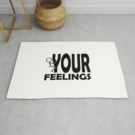 Fuck Your Feelings Humping Stickman Black Lettering Typography Rug