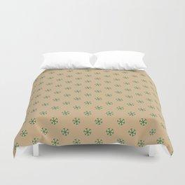 Cadmium Green on Tan Brown Snowflakes Duvet Cover