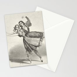 The Dancers, young man and woman, graphite, black white Stationery Cards