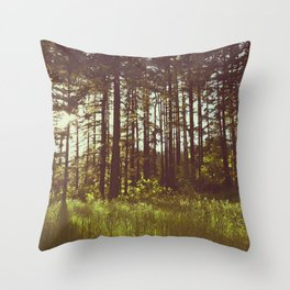 Summer Forest Sunlight - Nature Photography Throw Pillow