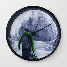 Moonlight Snowboarder Wall Clock