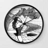 apollonia Wall Clocks featuring asc 549 - Le panache (The red cape) by From Apollonia with Love