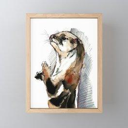 Amblonyx cinereus otter Framed Mini Art Print