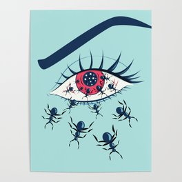 Creepy Red Eye With Ants Poster