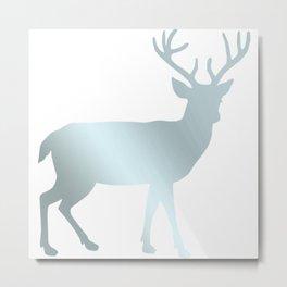 Liquid Blue Silver Deer Metal Print