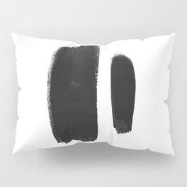 Black And White Minimalist Mid Century Abstract Ink Art Minimal Brush Strokes Black Color Block Pillow Sham