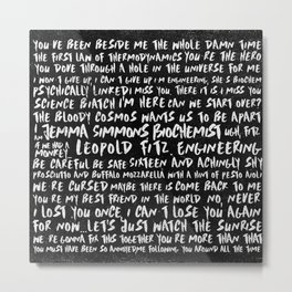 FitzSimmons Phrases in Black & White/2 Metal Print