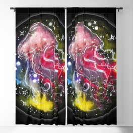 Watercolor Galaxy Jellyfish Blackout Curtain