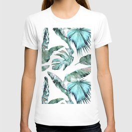 Tropical Palm Leaves Blue Green on White T-shirt