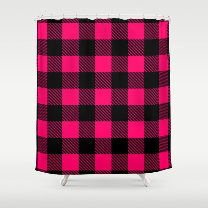 Hot Pink Buffalo Plaid Shower Curtain By Linepush