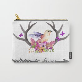 Hummingbird on floral Antlers and Dream arrow Carry-All Pouch