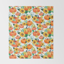 Pumpkins and Sunflowers with moths, watercolor botanical Throw Blanket