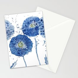 four blue dandelions watercolor Stationery Cards