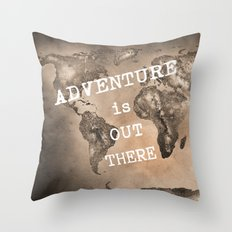 Adventure is out there. Stars world map. Sepia Throw Pillow