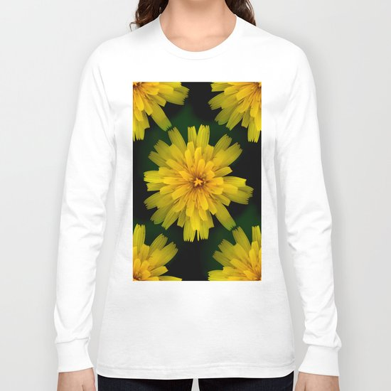 Yellow Natural Flowers On Black Background Long Sleeve T-shirt