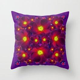 Purple Dark Burgundy Color Flower Pattern Throw Pillow