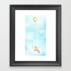 Classic Pooh & Balloon. Watercolor Framed Art Print
