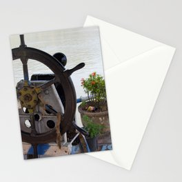 Mekong River Ship Detail ship's wheel potted plant Stationery Cards