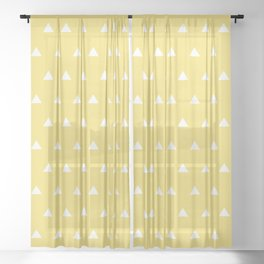 Yellow triangles Sheer Curtain
