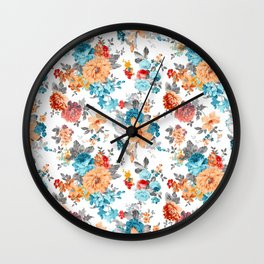 Seamless Floral Pattern Wall Clock