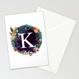 Personalized Monogram Initial Letter K Floral Wreath Artwork Stationery Cards