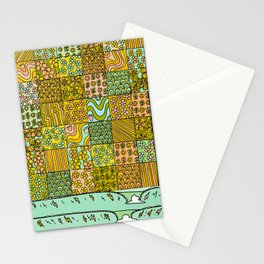 patchwork dreams retro flower quilt dreams of waves Stationery Cards