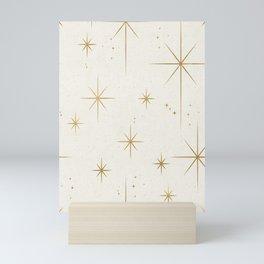 Seamless Pattern Glamorous White Gold Art Deco Stars Constellations Minimalist Geometric Pattern Mini Art Print
