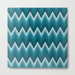 Teal Blue Chevron Zigzag Stripes Pattern Metal Print