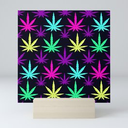 Colorful Marijuana Weed cool tone Mini Art Print