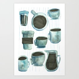 coffees watercolor Art Print