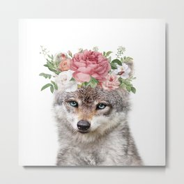 wolf with rose flowrs Metal Print
