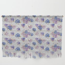 Hydrangeas and French Script with birds on gray background Wall Hanging