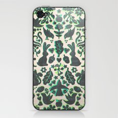 Two Rabbits - folk art pattern in grey, lime green & mint iPhone & iPod Skin