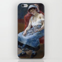 Sleeping Girl with a Cat by Pierre August Renoir iPhone Skin