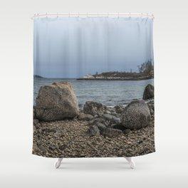 A Rocky Beach In Gloucester Shower Curtain