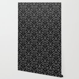 Flourish Damask Art I Gray on Black Wallpaper