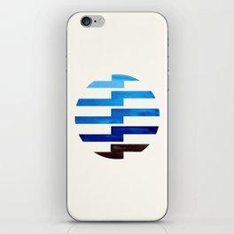 Minimalist Mid Century Circle Frame Prussian Blue Zig Zag Colorful Lightning Bolt Geometric Pattern iPhone Skin