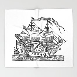 Ship Barco Bateau Schiff лодка Throw Blanket