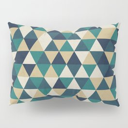 Foggy Petrol and Blue - Hipster Geometric Triangle Pattern Pillow Sham