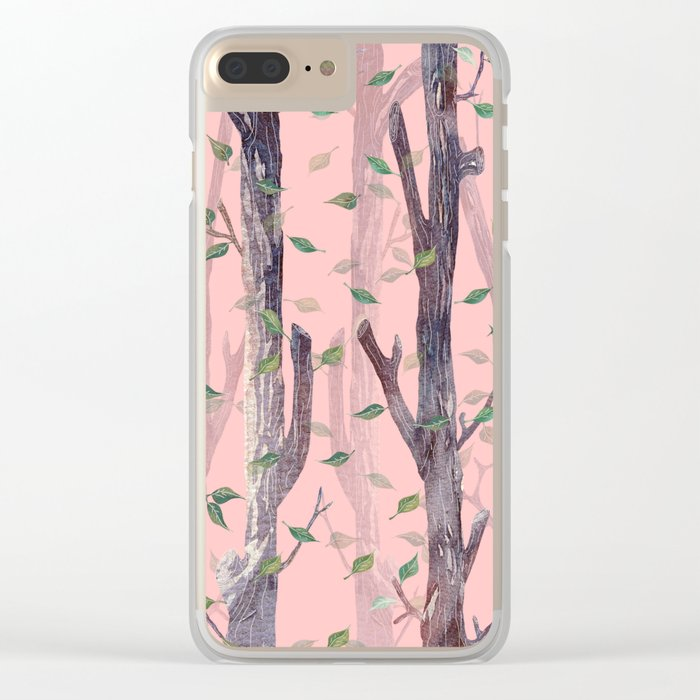 Forest Pink Clear iPhone Case