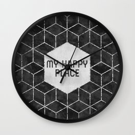 GRAPHIC ART SILVER My happy place | black Wall Clock