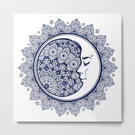 Mandala Moon Purple Metal Print