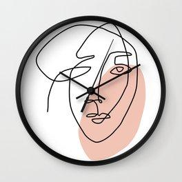 One Line Art Face Sketch Wall Clock