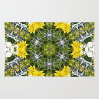 marc johns Area & Throw Rugs featuring Kaleidoscope of showy St Johns Wort  by Wendy Townrow