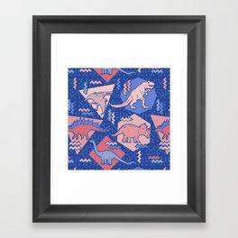 Nineties Dinosaurs Pattern  - Rose Quartz and Serenity version Framed Art Print