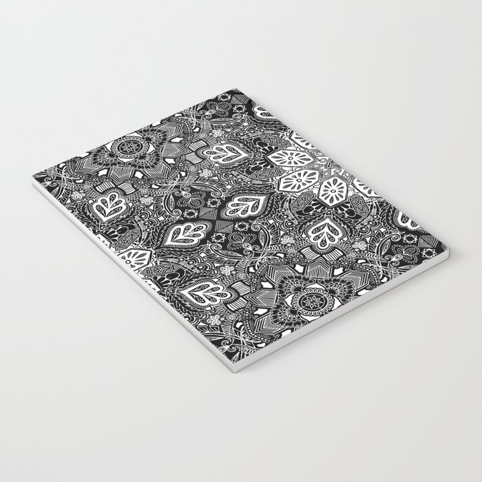 Gypsy Lace in White on Black Notebook